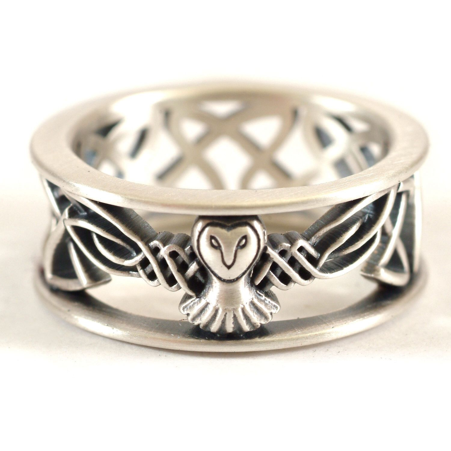 Sterling Silver Owl Wedding Band Celtic Owl Ring Mens Wedding