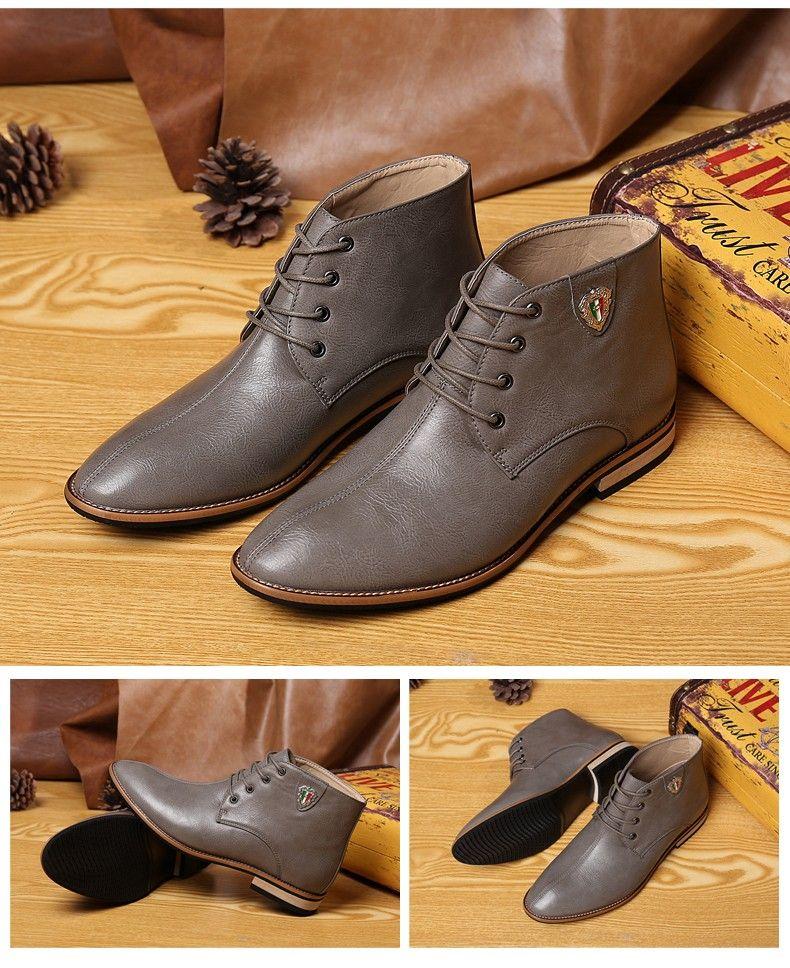 Botas de vestir cuero negro para Hombre zapatos de vestir de marrones casuales ... e11c71