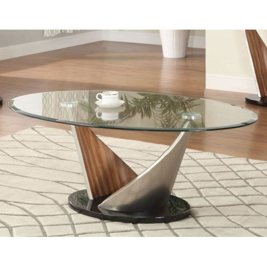 Florence Glass Coffee Table With Walnut Satin Base