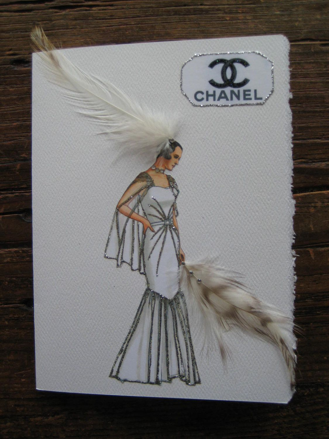 "1930  Fashion Illustration Coco Chanel ""White Tulle with sunburst stitching Evening Gown""note card. $7.50, via Etsy."