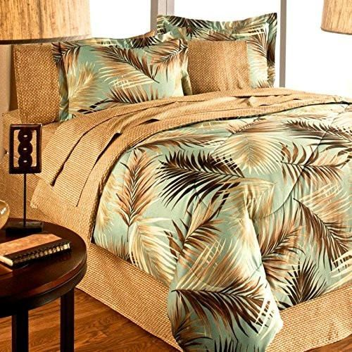 Tropical Palm Tree Leaf Leaves Ocean Beach Coastal Bedding Comforter Set Bed In A Bag King Size