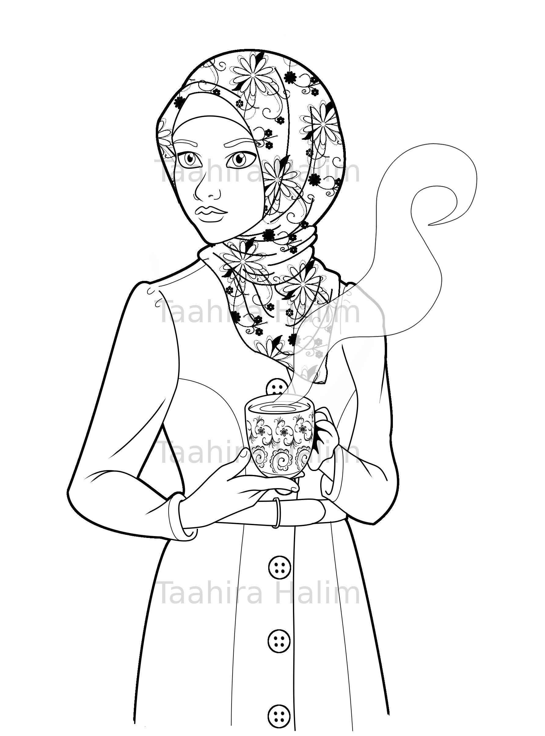 Islamic coloring page featuring a cute hijabi muslim girl