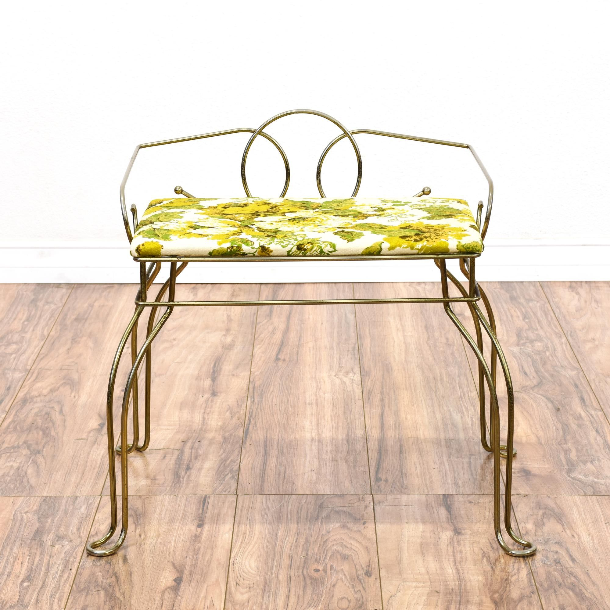 This Mid Century Modern Vanity Stool Is Featured In A Durable Bent Metal With A Shiny Brass Finish Th Vanity Stool Mid Century Modern Vanity Vintage Furniture