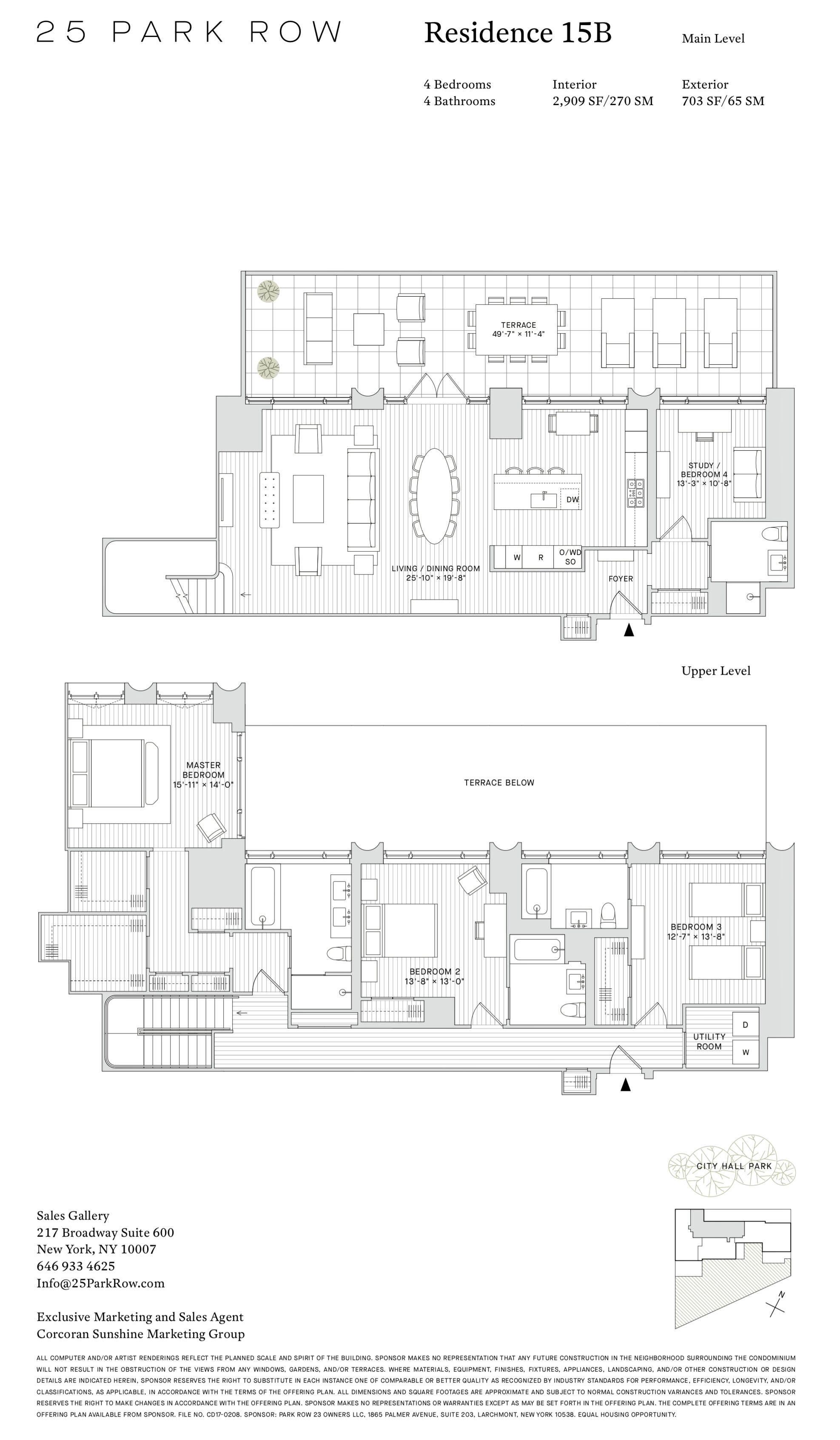 25 Park Row Residence 15b Apartment Floor Plans Floor Plans
