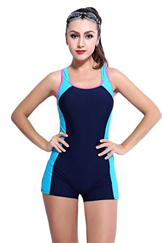 280b6fa9eaa5c Womens Slimming One Piece Boxer Boyleg Swimsuit Cross Back Halterneck Athletic  Swimwear Tankini US 8 Navy Blue     Check out this great product.