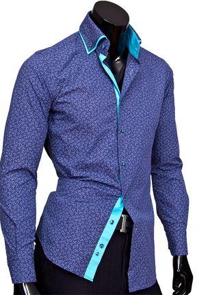 40d6571f609 Темно синя сорочка с двойным воротником. Find this Pin and more on Итальянские  мужские рубашки ...