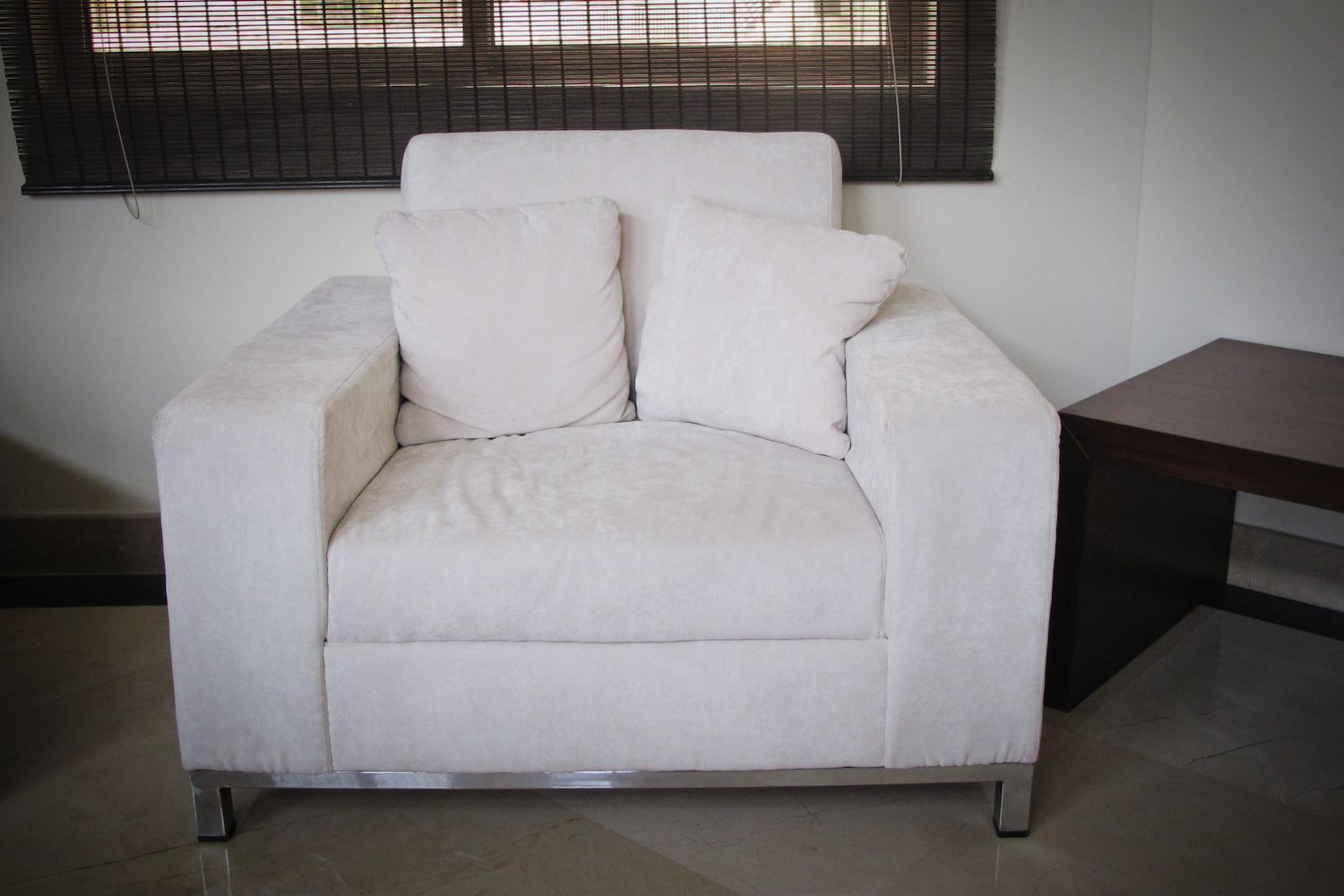 Custom-made armchair with imported suede-style fabric covering. Buy ...
