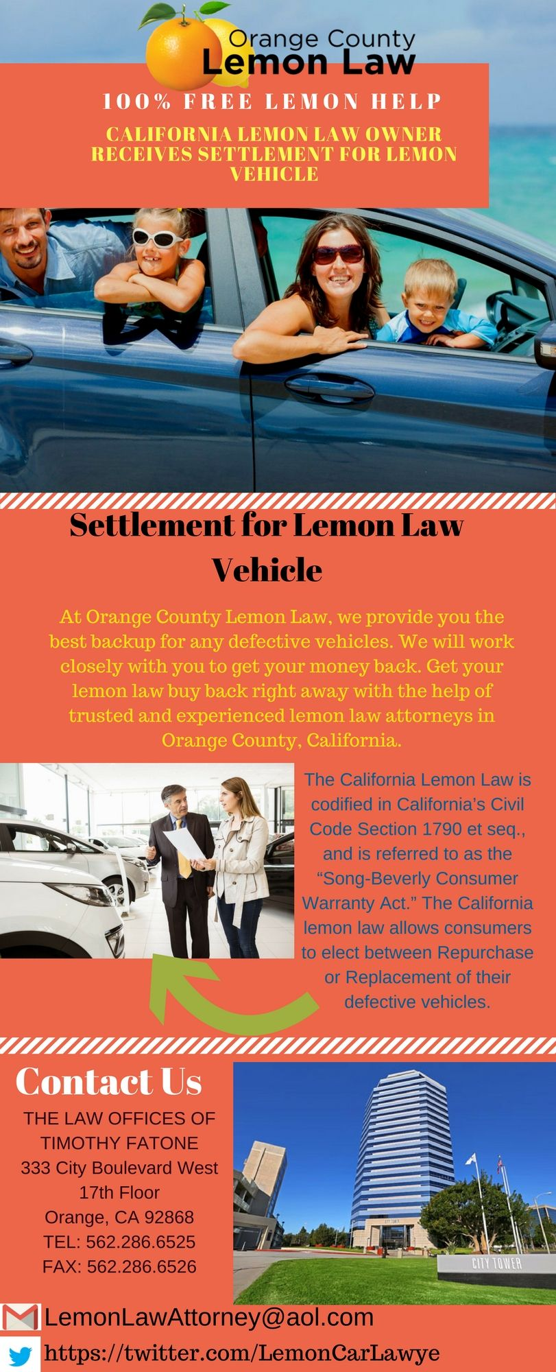 Call now to speak directly with Orange County Lemon Law