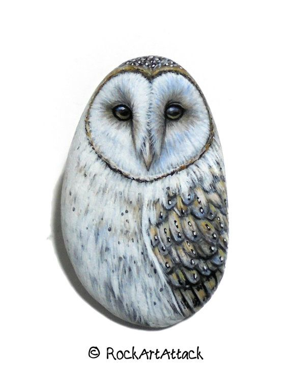 Hand-Painted Barn Owl Pebble Fridge Magnet by RockArtAttack! #paintedstones #owlpainting #pebbleart #rockpainting #owlart