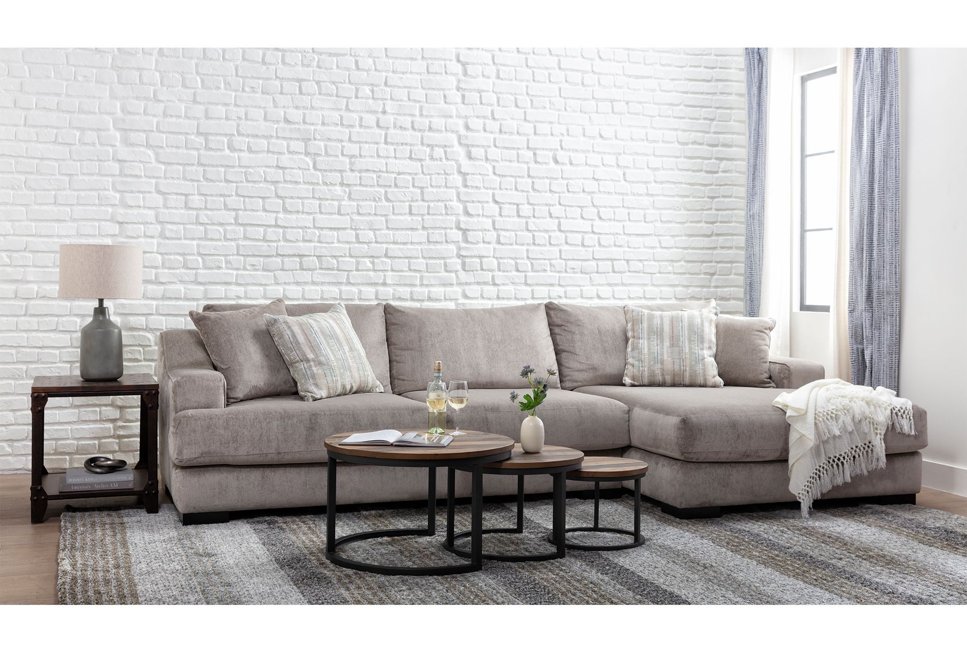 Lodge Fog 2 Piece 139 Sectional With Right Arm Facing Oversized Chaise In 2021 Apartment Bedroom Decor 2 Piece Sectional Sofa Home 2 piece sectional sofa with chaise