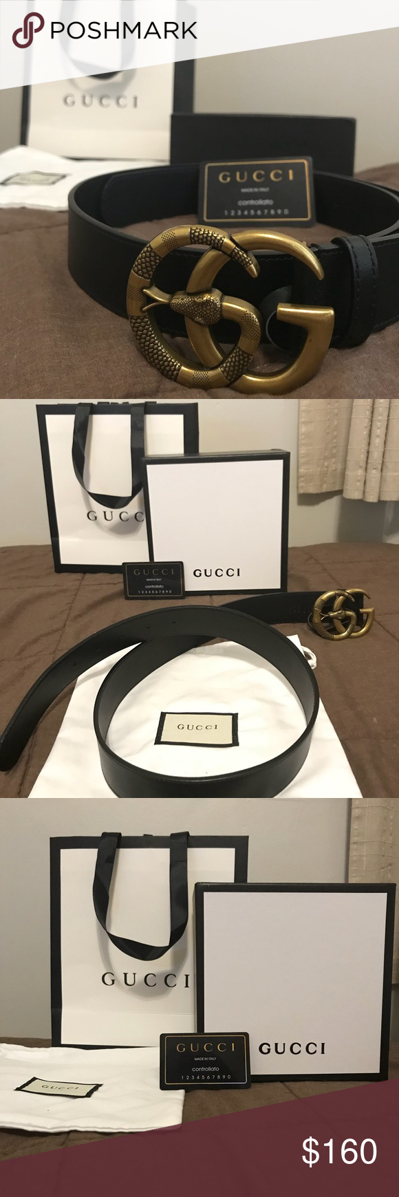671706e5563 Gucci Snake Buckle Leather Belt Authentic Gucci Belt with Snake G. Belt is  basically new