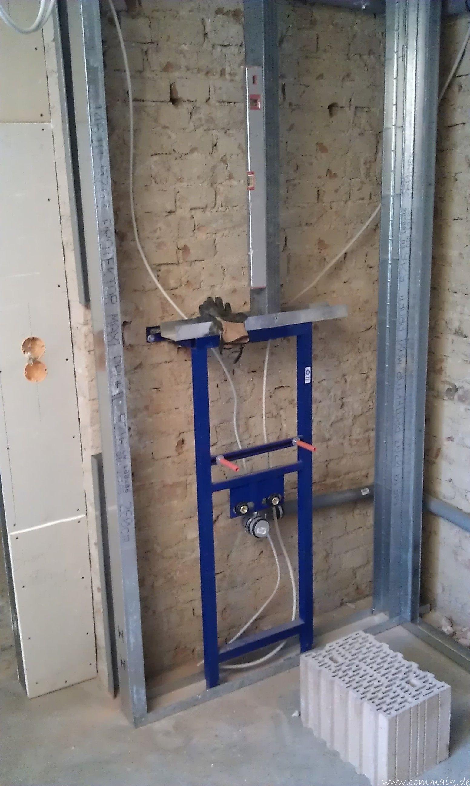 Trockenbau Und Sanitarinstallation Im Keller Die Kundentoilette Entsteht Trockenbau Badezimmer Im Keller Im Keller