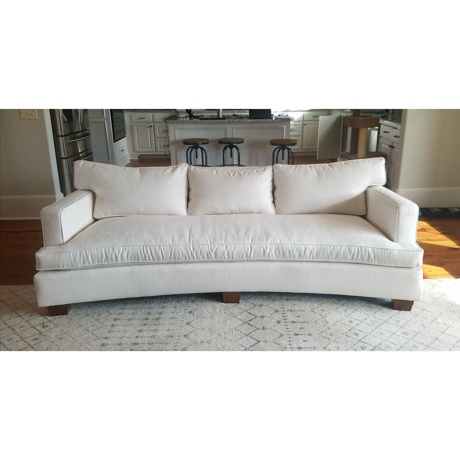 theodore alexander off white crypton fabric curved sofa