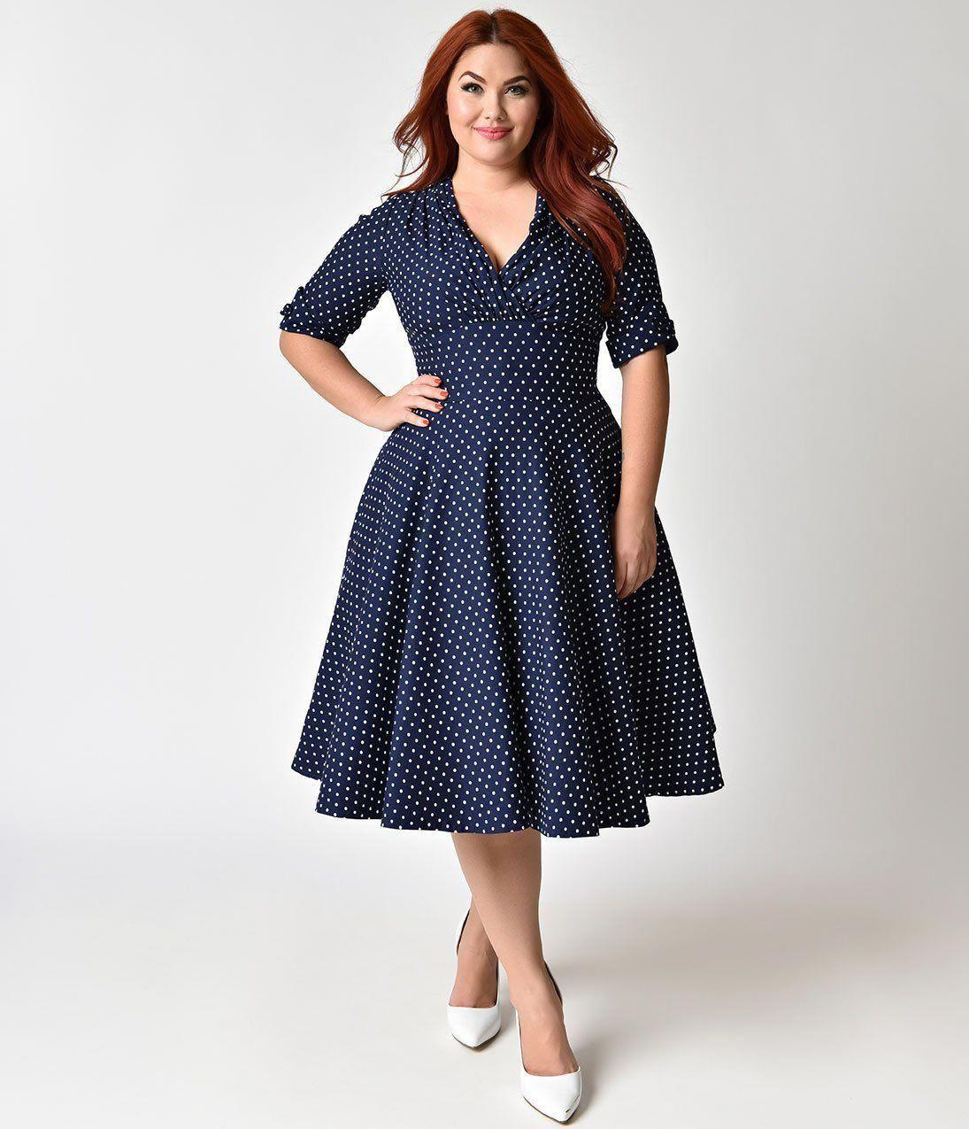 1950s Plus Size Dresses Clothing Plus Size Swing Dresses Unique Vintage Plus Size 1950s Navy Plus Size Sundress Dresses For Apple Shape Women Dresses Classy [ 1275 x 1095 Pixel ]