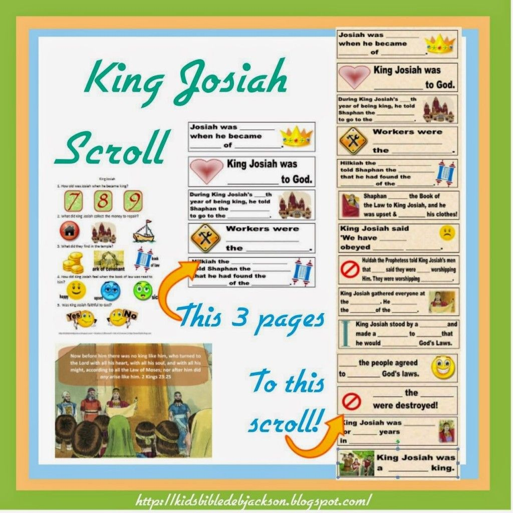 King Josiah Free Printable And Lesson
