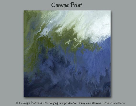 Abstract Canvas Art Print In Navy Blue Olive Sage Green And White For