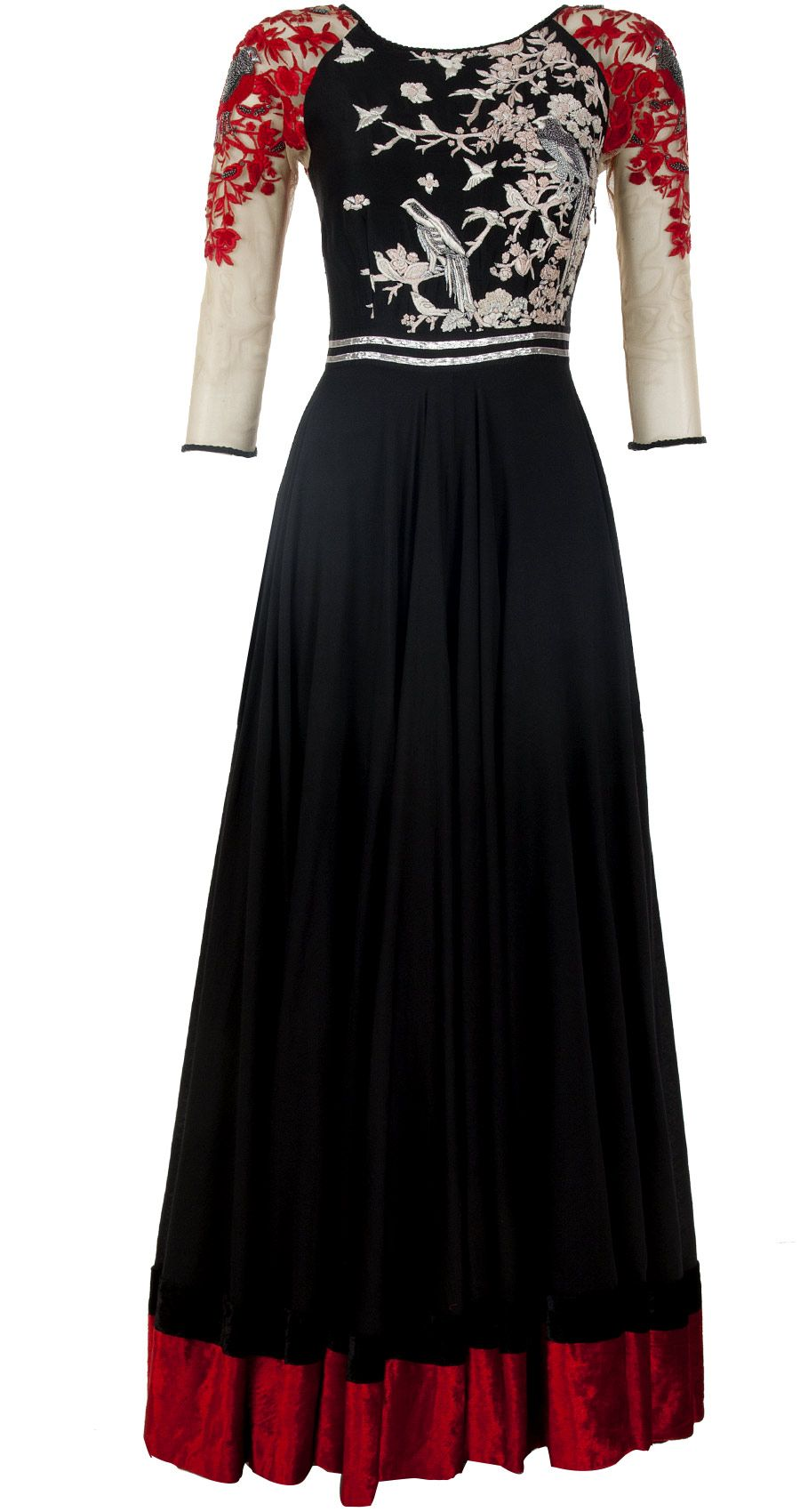 Black and red anarkali with embroidered yoke by VARUN BAHL. http://www.perniaspopupshop.com/designers-1/varun-bahl