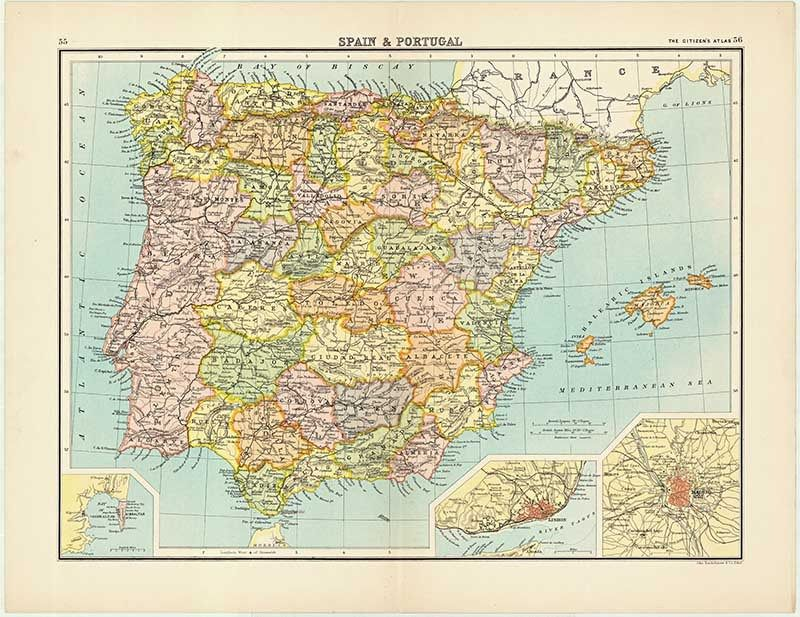Free Printable Map Of Spain.Vintage Spain And Portugal Citizen Atlas Love Vintage Maps