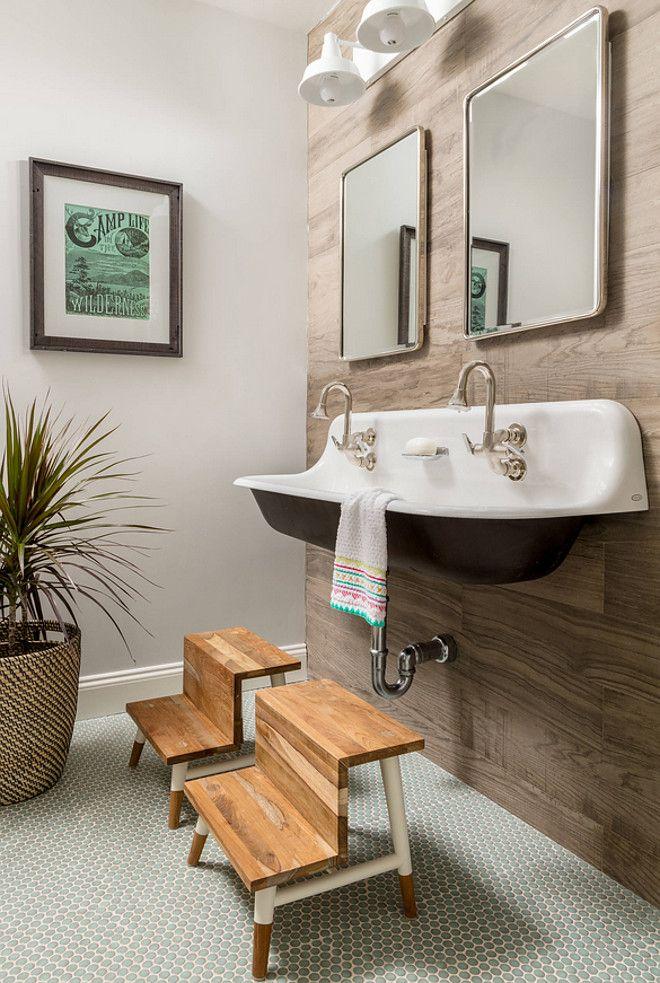 Farmhouse Bathroom With Wood Grain Tile Accent Wall Kids Bathroom With Wall Mounted Kohler Sink Farmhouse Bat Small Bathroom Faux Wood Tiles Amazing Bathrooms