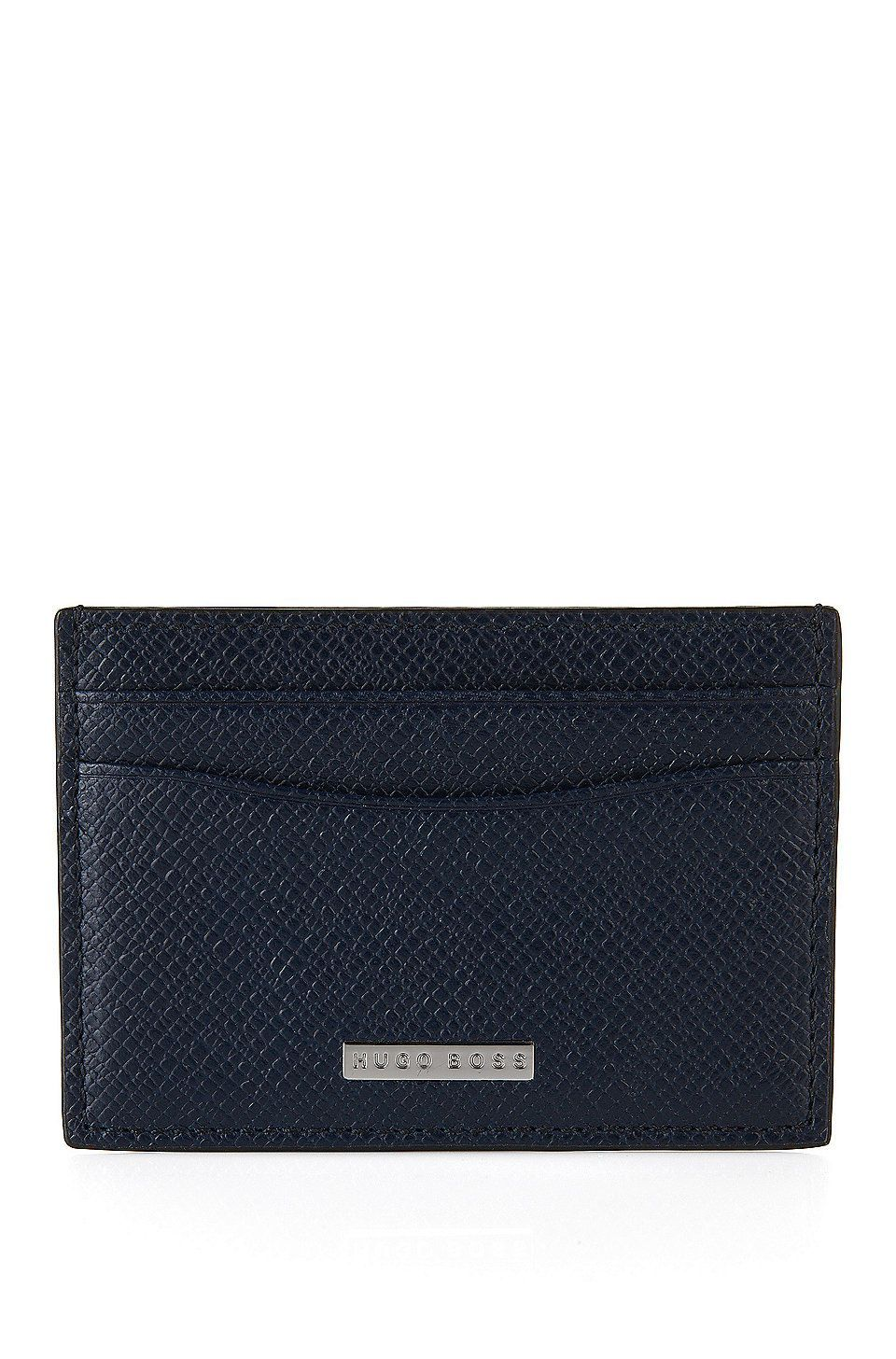81b2d123820c HUGO BOSS Signature Collection card holder in grained palmellato leather -  Dark Blue Wallets and Key