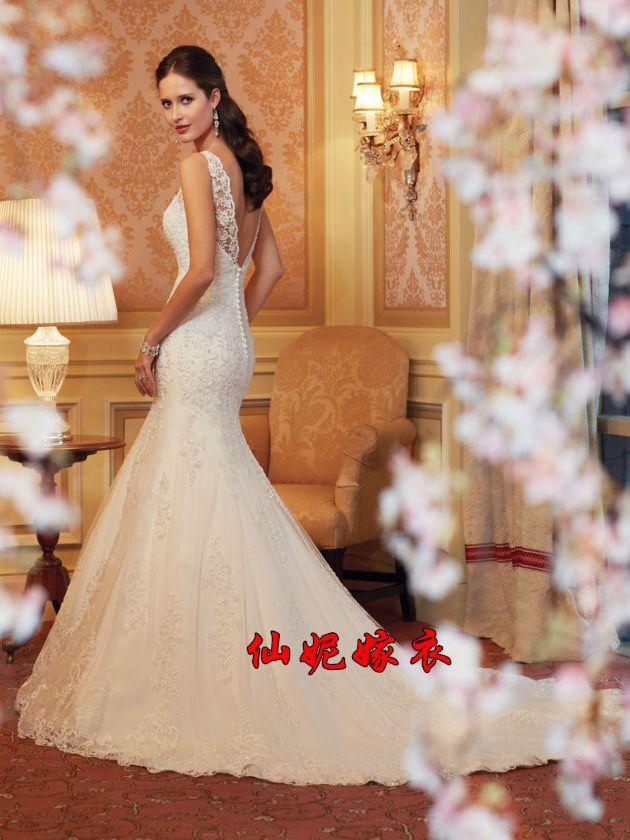 2014 new shoulder lace fishtail halter Slim retro palace Taobao small tail wedding wedding dress-