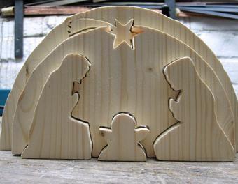 Krippe f rs wichteln basteln holzbearbeitung dekoration - Krippe modern holz ...