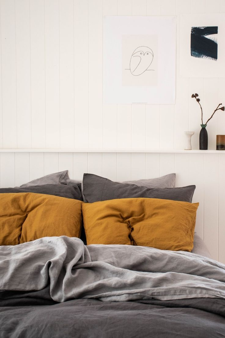 The Most Beautiful Moody Complimentary Colours Of Warm Grey Soft Grey Mustard French Linen Home Home Decor Bedroom Home Bedroom