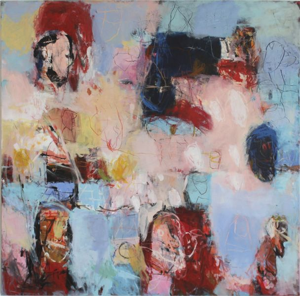 "Bill Lowe Gallery Michel Meyer ""In the Wind"" acrylic on canvas, 47x47 inches  #lowelook #art #Meyer #german #blue"