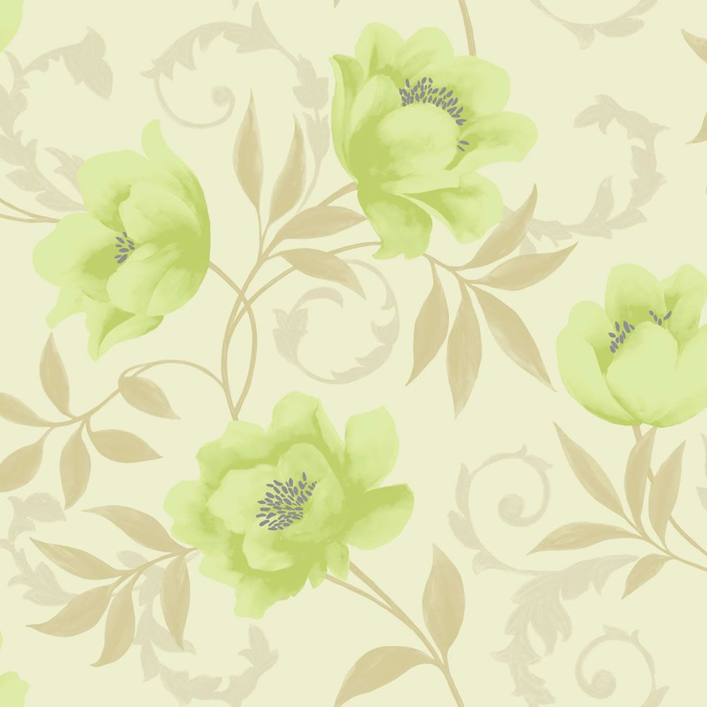 K2 Vintage Feature Wallpaper Lime Cream 10581