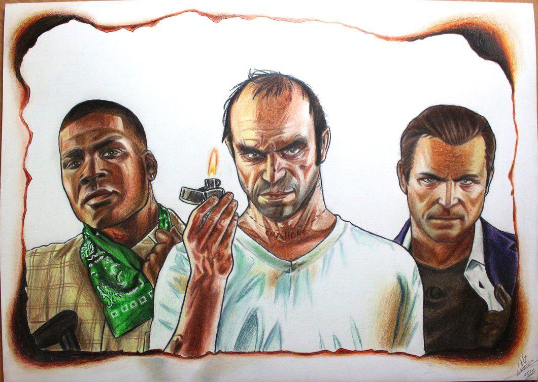 Gta V Franklin Trevor And Michael Drawing In 2020 Drawings Art Gta