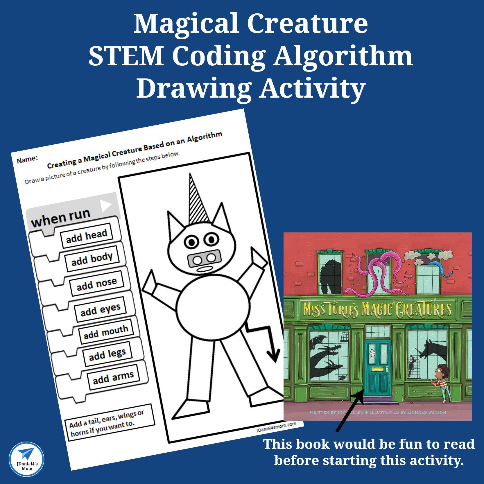 Magical Creatures Stem Coding Algorithm Drawing Activity