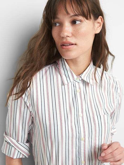 251223c6 Gap New Fitted Boyfriend Stripe Shirt in Poplin | Products | Shirts ...