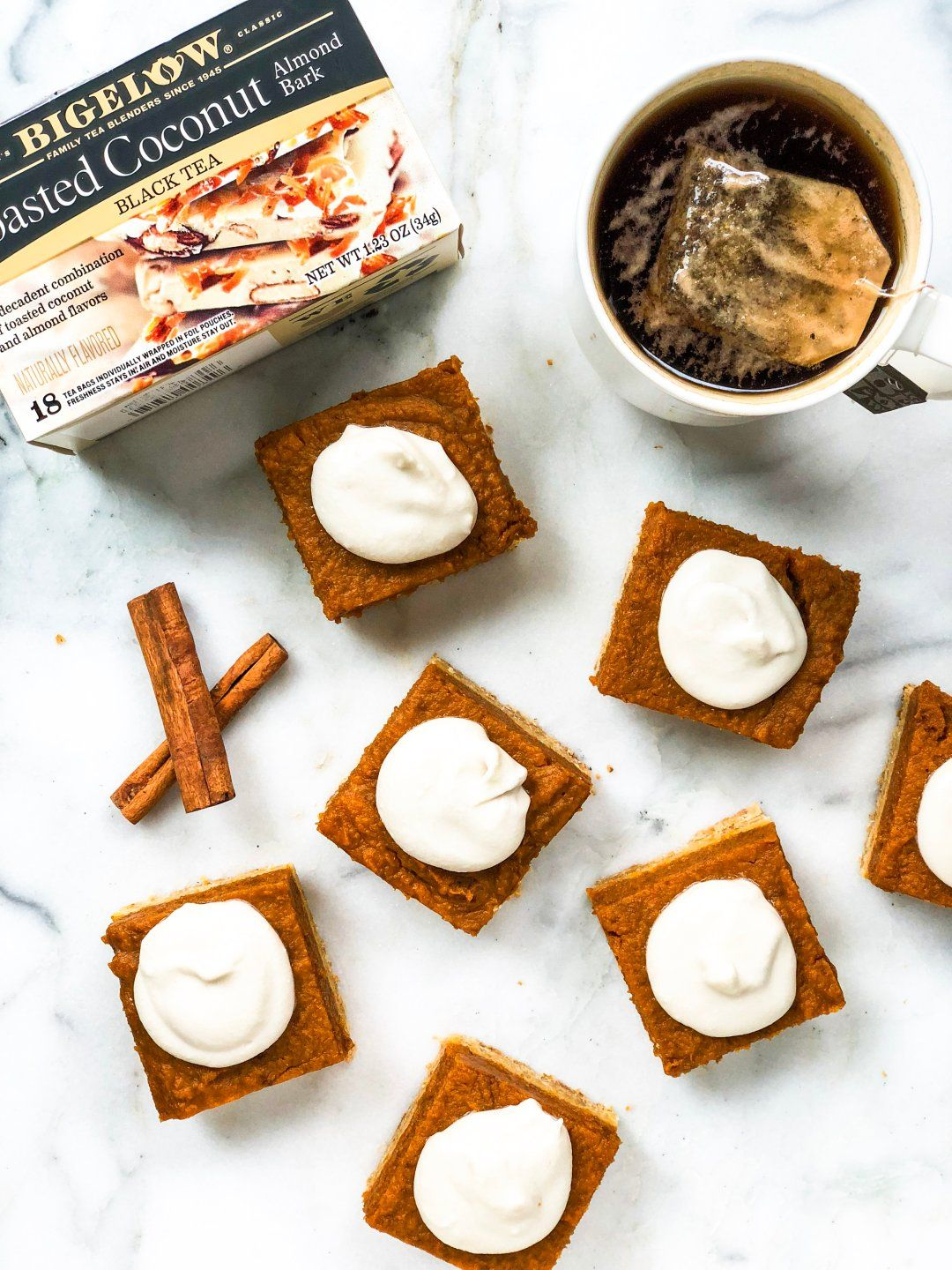 Vegan Pumpkin Pie Bars With Coconut Whipped Cream