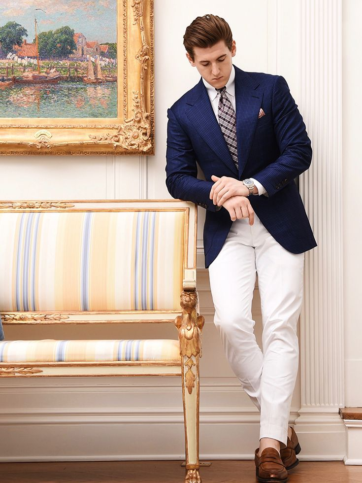 ccebd60a065 Michael Andrews Bespoke Navy and Blue and Navy Fine Check Custom Sport Coat  Blazer with White Dress Shirt