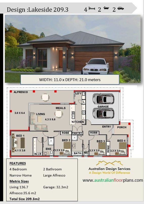 House Plan 209 Lake Side Sp Modern Style 4 Bedrooms Alfresco 2 Bath Double Garage House Plans For Sale Bedroom House Plans Modern House Plans