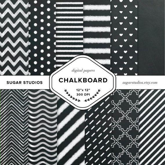 Chalkboard 12 Piece Digital Scrapbook Paper Mega by sugarstudios $3.99