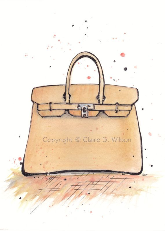 The Birkin Bag Art Print 5x7 by claireswilson on Etsy 9c9506790ab30