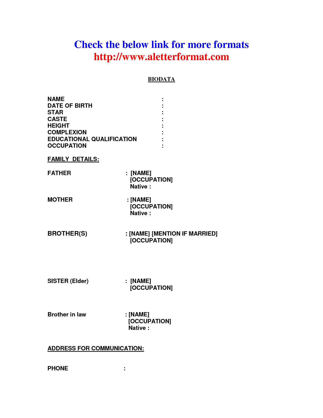 marriage biodata format by aniltheblogger