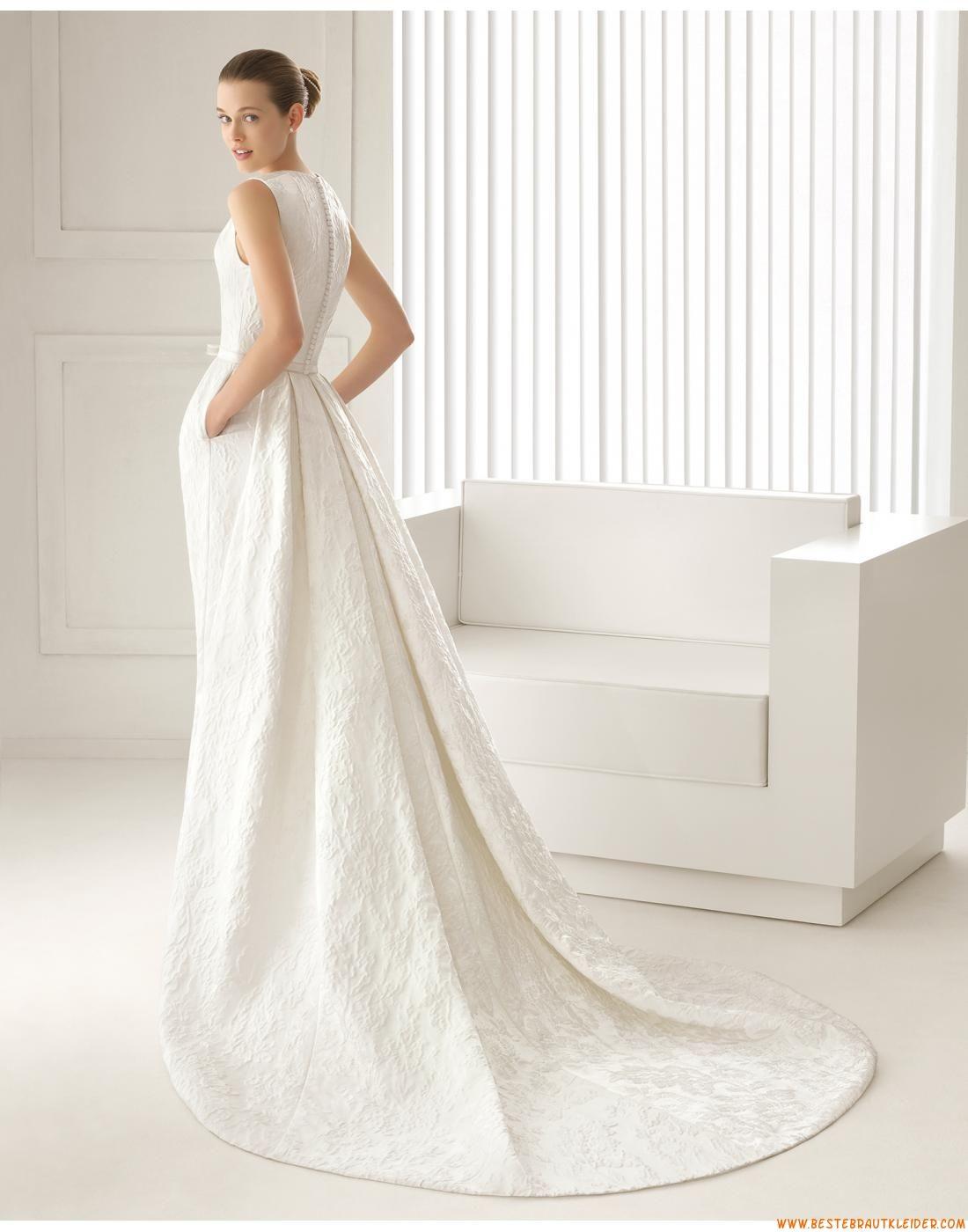 Glamouröse Dramatische Moderne Brautkleider aus Satin mit Schleppe ...