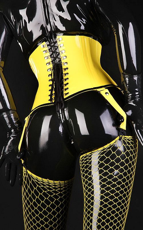 Latex rubber underbust fetish corset crafted in our workshop using high