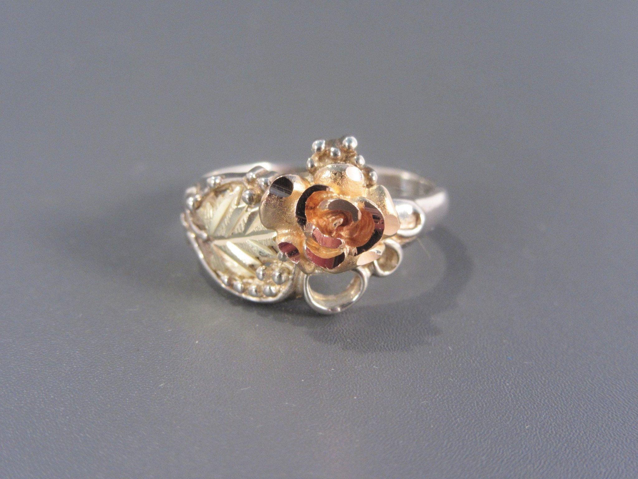 Vintage Black Hills Gold Sterling Rose Flower Ring Size 7