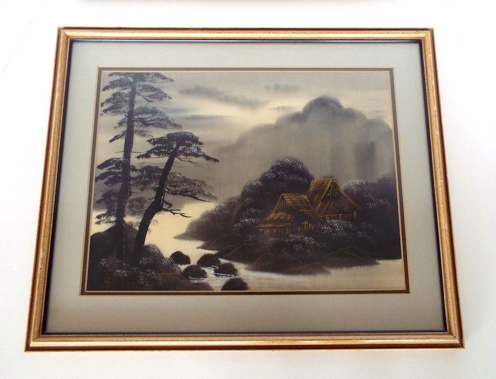 Vintage Japanese Hand Painted Silk Asian Landscape Frame Matts Non ...