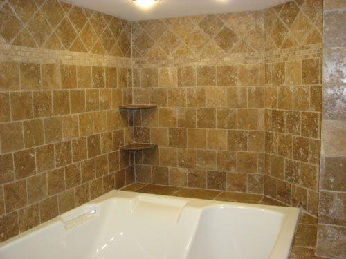 travertine tile jacuzzi tub deck and walls-berlin,nj-bathroom tile ...