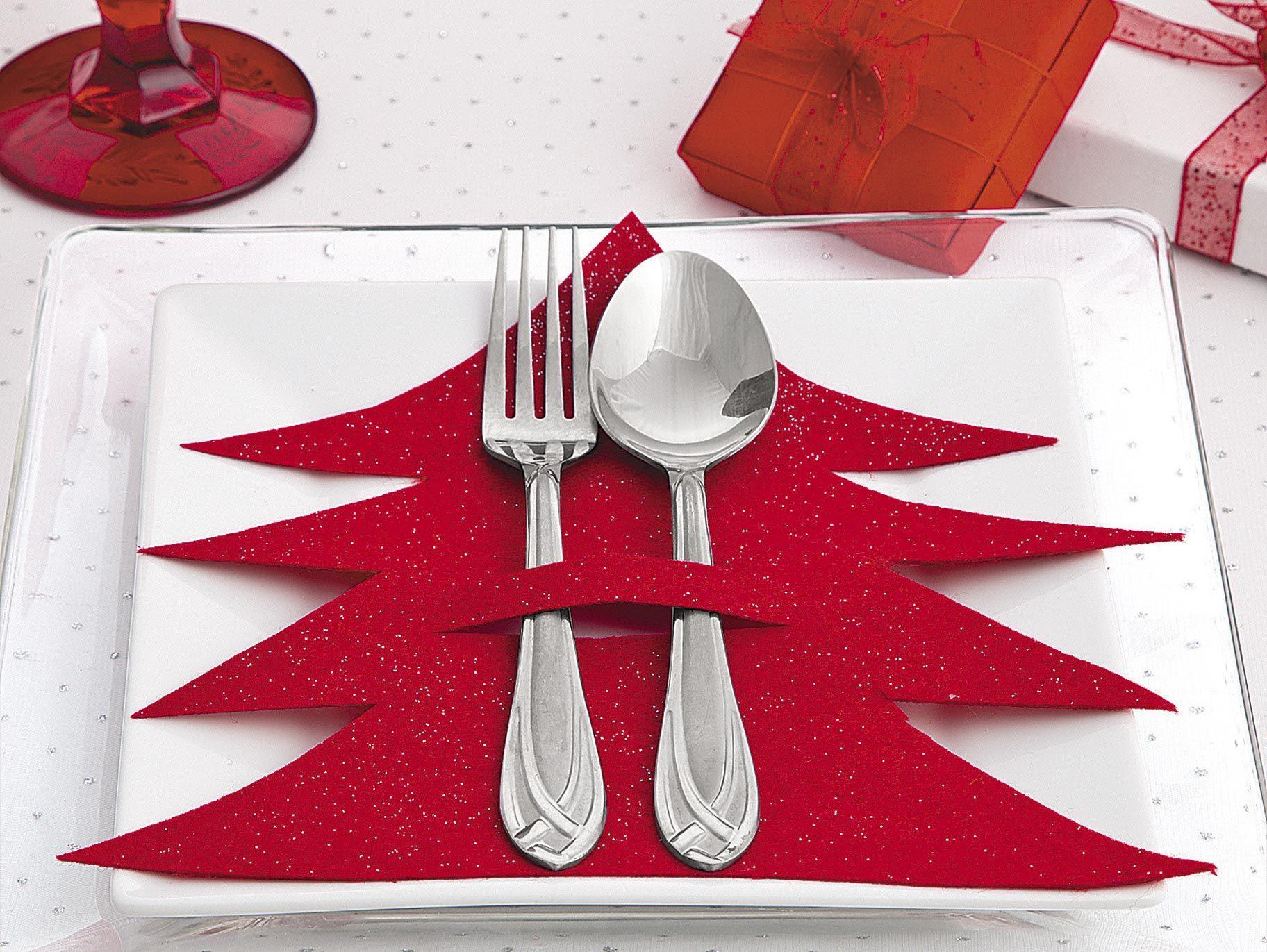 DIY Christmas Tree Silverware Holder Christmas table