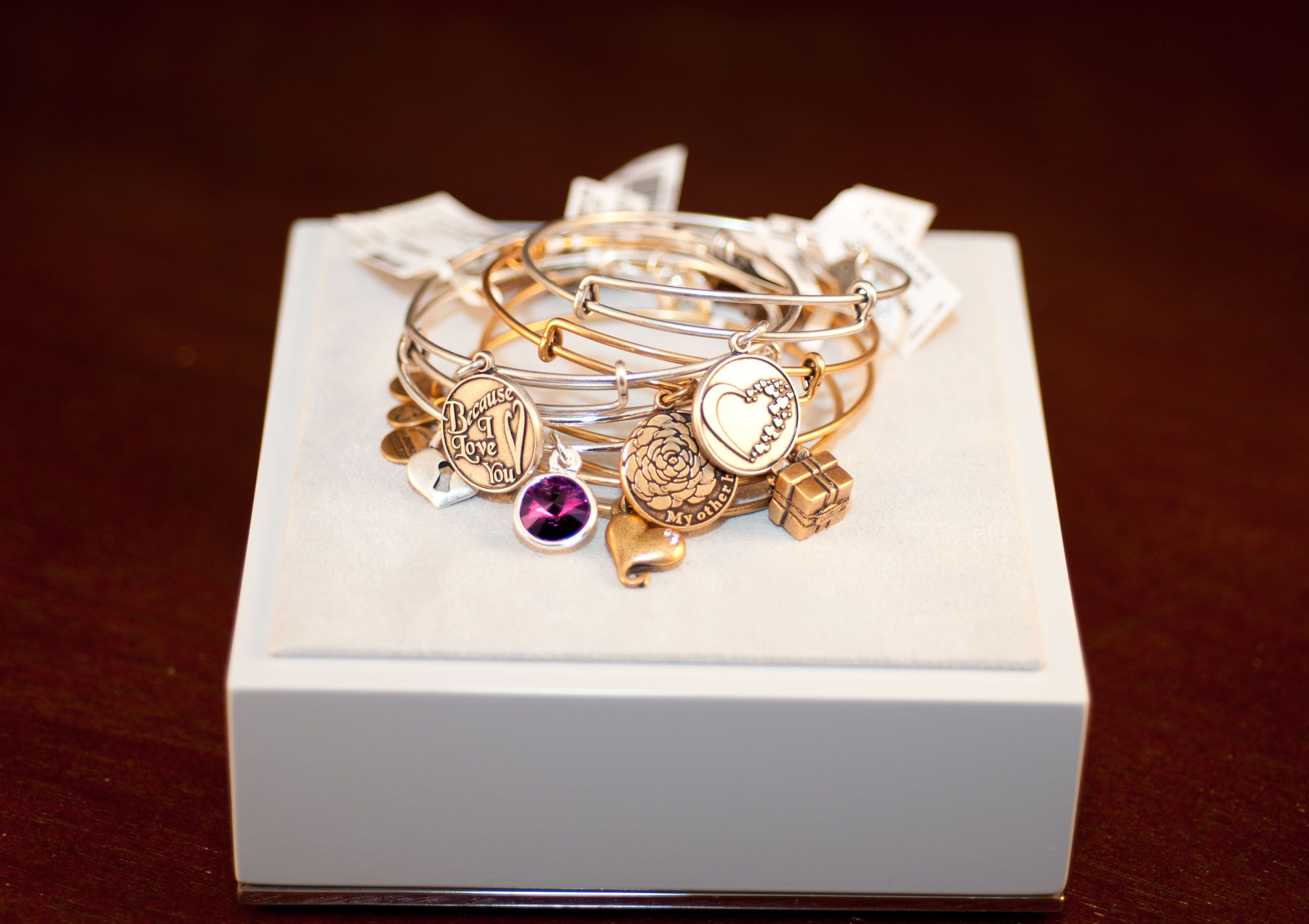 Valentine's Gift. Alex and Ani Yellow Gold February Birthstone Bracelet