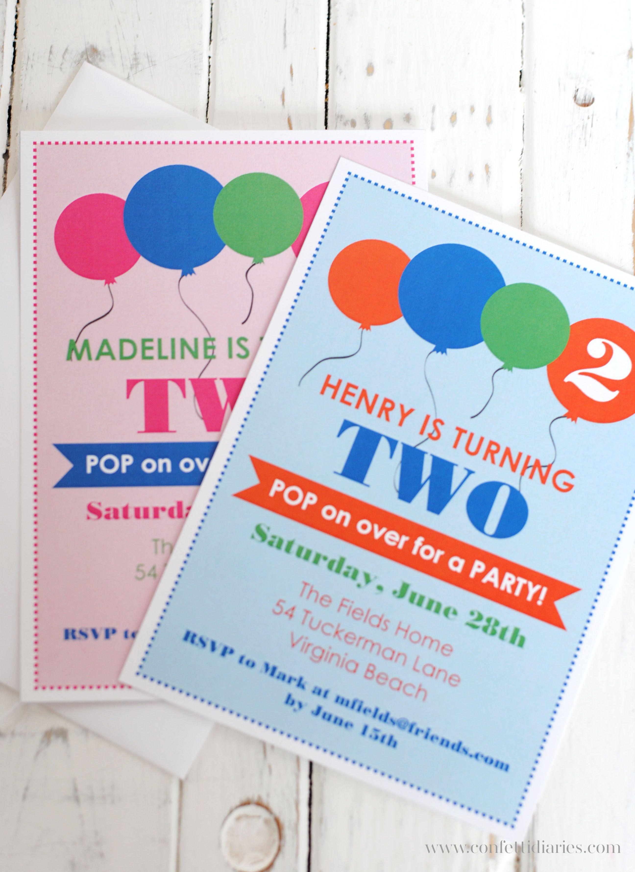 Robin s valatka a pretty balloon themed party invitation with boy robin s valatka a pretty balloon themed party invitation with boy and girl versions filmwisefo