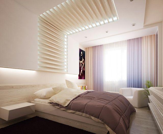 chambre-coucher-moderne-plafond-original | my home ideas | Pinterest