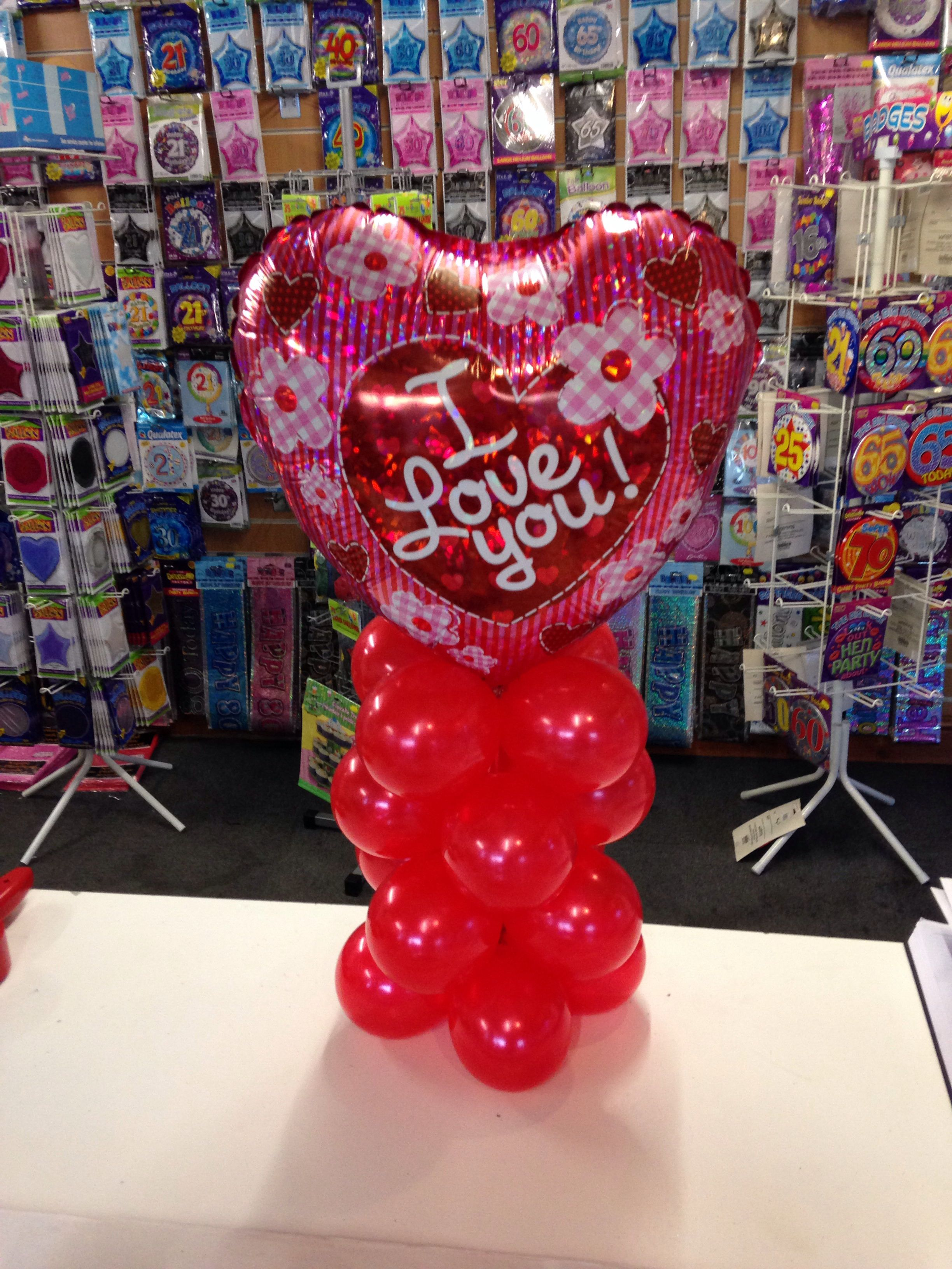 """Small #valentines day pillar with 18"""" foil balloon"""
