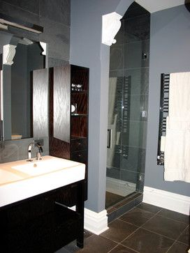 Blue Grey Walls With Dark Brown Tile Tile Like On My Bathroom Looks Ok With Grey Walls Right Brown Tile Floor Brown Floors Brown Tiles