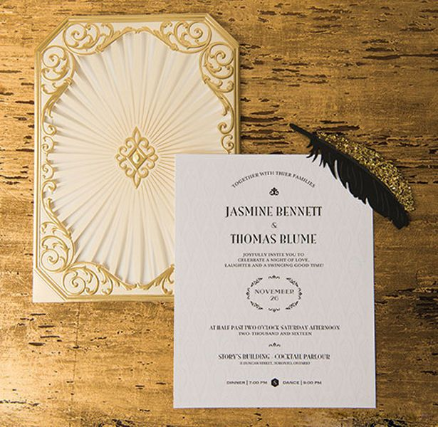 art deco great gatsby wedding inspiration - Great Gatsby Wedding Invitations